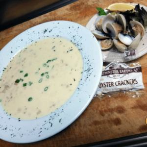 Enjoy a cup of Columbus Day Clam Chowder with us!!